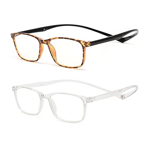 JM 2 Pack Magnetic Reading Glasses, Rectangle Blue Light Blocking Computer Readers Tortoise & Clear +1.25