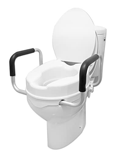 PEPE - Elevador WC Adulto con Reposabrazos (10 cm de altura), Elevador WC con Tapa, Asiento Elevador WC, Asiento WC Ortopédico, Elevador WC, Elevador Inodoro, Alzador WC Adulto con Asas, Blanco.