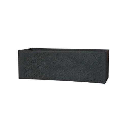 greemotion Jardinière rectangulaire noire Lea 79x29 cm - Pot de fleur design effet granit - Bac à fleur grande taille - Pot de plante aromatique pour l'intérieur et l'extérieur