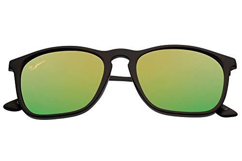 Capraia Avarengo Deportivas Rectangulares Gafas de Sol Ultra Ligeras TR90 Montura Mate Negra y Lentes Naranjas Espejadas Polarizadas protección UV400 Hombres
