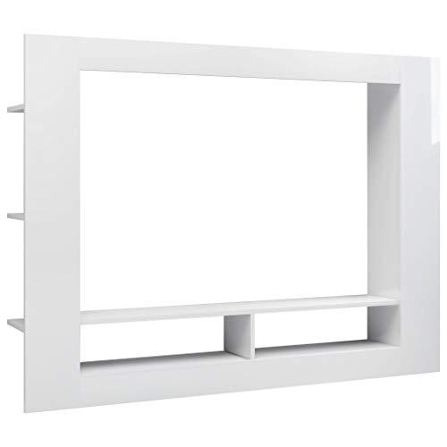 vidaXL TV Schrank Lowboard Sideboard TV Möbel Fernsehschrank Fernsehtisch Wohnwand Medienwand Anbauwand Schrankwand Hochglanz-Weiß 152x22x113cm Spanplatte