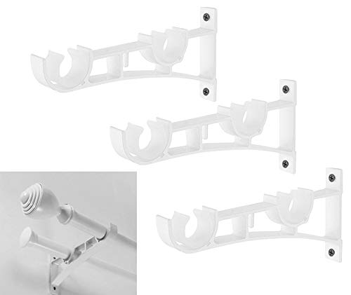 Broadsheet Set of 3 Double Curtain Rod Bracket, Double Holes Home Collection White Premium Rod Bracket for Walls, Drapery Rod Holder, Fits for 1 Inch to 1.2 Inch Diameter Curtain Rods