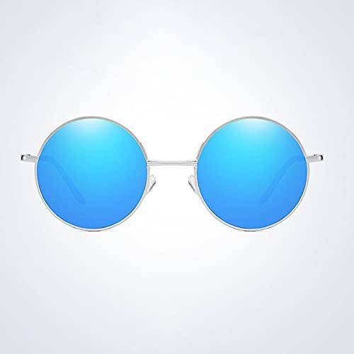 Gafas De Moda Gafas De Sol Gafas De Sol Redondas Hombres Gafas De Sol Polarizadas para Hombres Gafas De Sol Retro Hombres Plata Azul