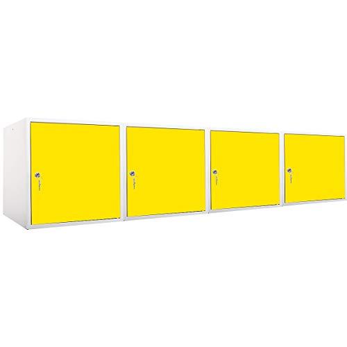 newpo Mega Deal | 4x Schließfachwürfel | HxBxT 45 x 45 x 45 cm | Gelb - Garderobe Schließfach Schließfachschrank Schließwürfel