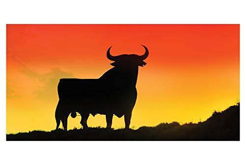 LimeWorks - Toalla de baño (70 x 140 cm), diseño de Toro español, 100% algodón, Naranja, 70 x 140 cm