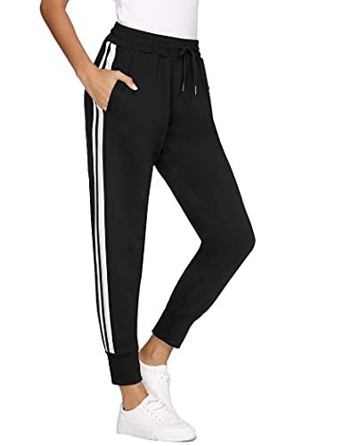 COOrun Jogginghose Damen Jogger Trainingshose Sportwear Streetwear lang Sweathose Sweatpants mit Bündchen und 2 Streifen schwarz L