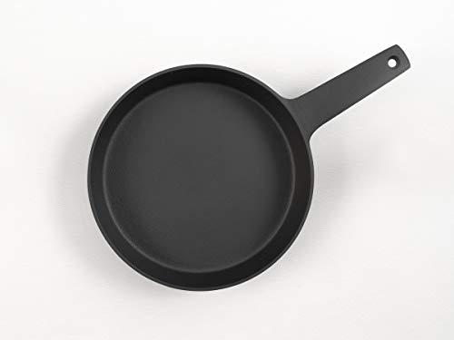 Grill-Pfanne, rund, aus Guss-Eisen. Brat-Pfannen für Induktion, Ceran und Gas-Herd, Back-Ofen, BBQ, Feuerstelle. Traumhaft für Steak, Fleisch, Gemüse, Brat-Kartoffeln
