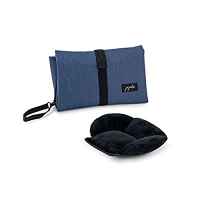 JuJuBe Portable Baby Changing Pad | On The Go | All-in-1 Foldable Diaper Changing Station, Stain Resistant, Lightweight Travel Mat Station, Detachable Padded Pillow | Navy Blue