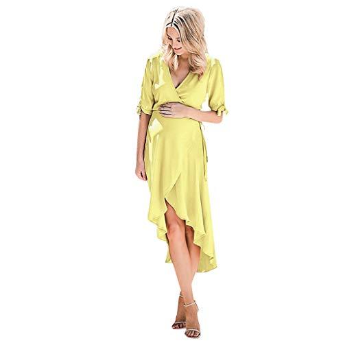 Lurcardo Stillkeid Umstandskleid Kurzarm Sexy V-Ausschnitt Pure Farbe Stillkleid Schwangerschafts Kleid Mode Still-Nachthemd Stillen Kleid Umstandsmode Frauen Damen Kleid Sommer Damen Kleider