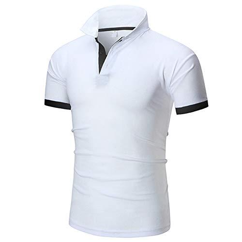 d.Stil Herrn Poloshirt Kurzarm Basic Baumwolle Polohemd (Weiss-L)