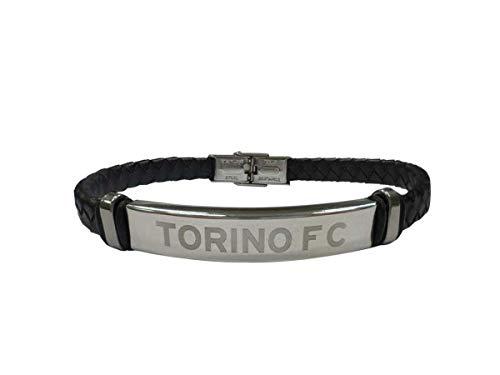 Pulsera Torino, producto oficial, tira trenzada de piel sintética, placa central grabada