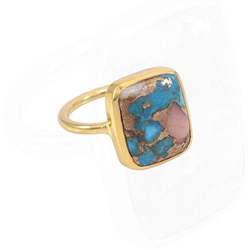 Earth Gems Jewelry Anillo de plata de ley 925 Turquesa Piedra preciosa Rosa Ópalo Kingman Turquesa Anillo hecho a mano para mujer (1 MICRON BAÑADO EN GLOD, 9)