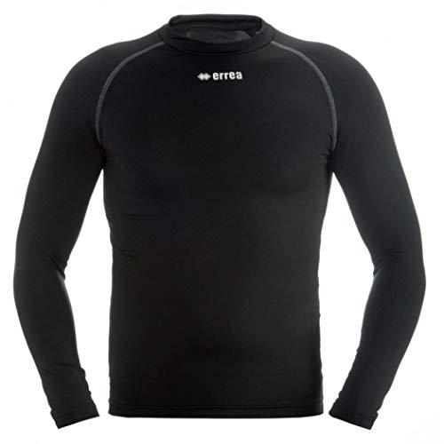ERMES Funktionsshirt mit geringer Kompression (langarm) ideal zum Training beim Fußball, Running, Football, Rugby, Hockey u.v.m. · UNISEX Damen & Herren Unterziehshirt (Kompressionsshirt) aus Polyester-Stoff für Individual- & Teamsport von Erreà (schwarz, L/XL)