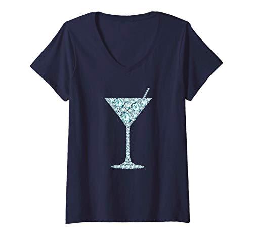 Mujer Happy Hour Martini Copa Licor Amante Alcohol Beber Regalo Camiseta Cuello V