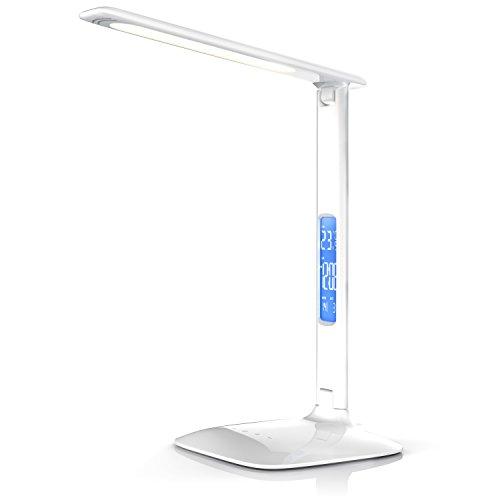 Brandson - dimmbare LED Schreibtischlampe - Augenschutz - 3 Lichtfarben kalt warm neutralweiß mit 5 Helligkeitsstufen - Temperatur Alarm und Kalenderfunktion