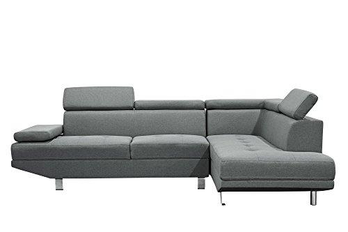 Mobilier Deco Canapé d'angle Design Gris en Tissu 4/5 Places (Angle Droit)