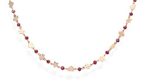 Collana donna gioielli AMEN quadrifoglio stella e cuore rosè CLCQSRR