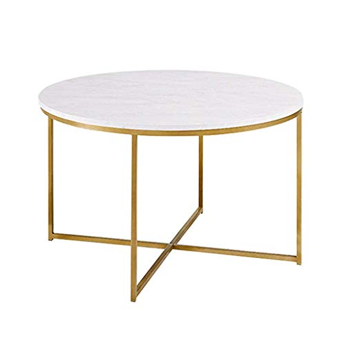 SCJ Mesa de Centro Redonda Moderna de marmol con Adornos Dorados con Base en X para el hogar, la Sala de Estar, el Comedor, la Mesa de marmol Estable Espesa, Resistente