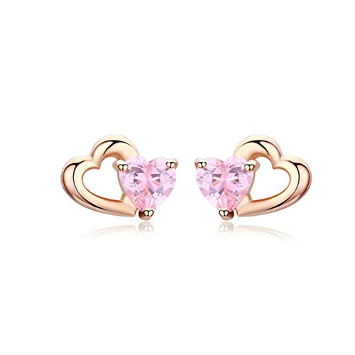 QY-Youth 925 Sterling Silver Doble Heart Heart to Heart Pink CZ Stud Pendientes para Mujeres joyería Fina,Oro