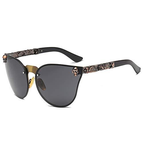QPRER Sonnenbrille, Brille,Dunkelschwarze Sonnenbrille Roségold Totenkopf Übergroße Sonnenbrille Designer-Sonnenbrille Für Damen Und Damenbrillen