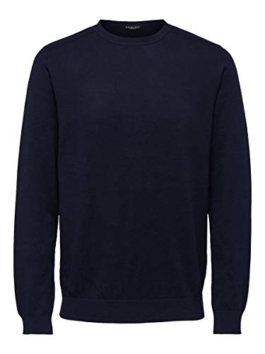 SELECTED HOMME Male Pullover Pima-Baumwoll SNavy Blazer