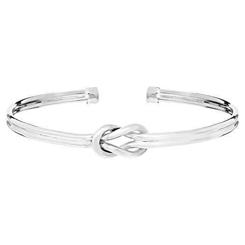 Silverly Women's .925 Sterling Silver Double Band Love Knot Adjustable Stackable Bangle Bracelet