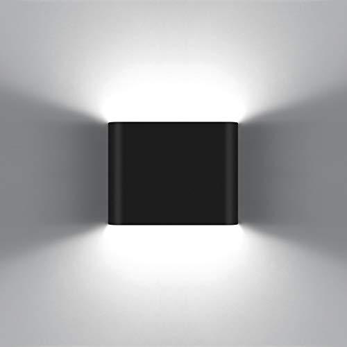 KAWELL 6W Moderno Apliques de Pared LED Luz de Pared Aluminio LED Bañadores de Pared Impermeable IP65 Interior Exterior para Dormitorio Baño Sala de Estar Escaleras Porche Pasillo KTV, Negro 6000K