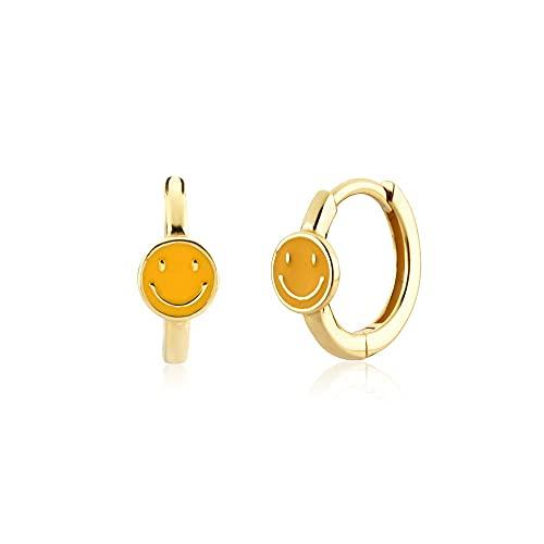 925 Plata Oro Uno Simple Simple Huggies Cara feliz Sonrisa Aros Pendiente Joyería de boda Piercing Pendiente-Oro amarillo