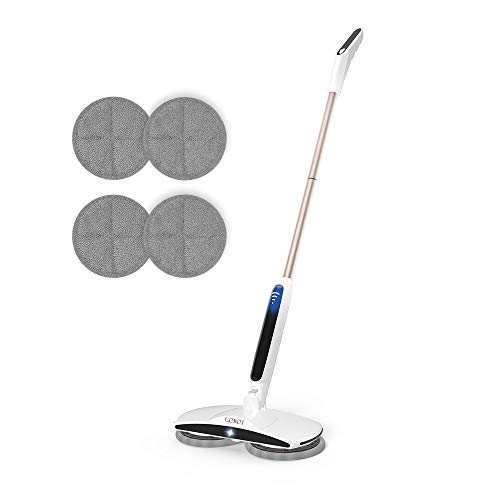 GOBOT Cordless Electric Mop Floor Scrubber for Home Kitchen Hardwood Floor Cleaner,2 Replacement...