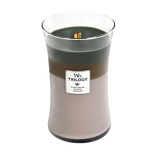 WoodWick Trilogy Cozy Cabin, 3-in-1 Highly Scented Candle, Classic Hourglass Jar, Large 7-inch, 21.5 oz