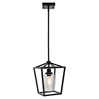 XINCAN 1-Light Metal Pendant Lighting Matte Black Farmhouse Cage Chandelier Industrial Hanging Light Fixture with Clear Glass for Dining Room Kitchen Island