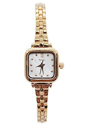 Chronomart Nafisa NA-0253 - Reloj de pulsera para mujer con esfera cuadrada pequeña, color dorado