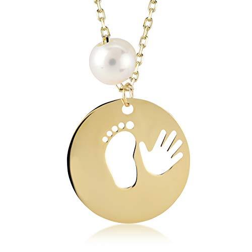 Dames meisjes halsketting van 14 karaat - 585 echt geelgoud baby voetafdruk en hand als gouden hanger, Mallorca parel, babyvoet, cadeau voor verjaardag Kerstmis - ketting 45 cm