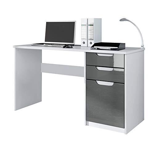 Vladon Schreibtisch Computertisch Büromöbel Logan, Korpus in Weiß matt/Fronten in Grau Hochglanz