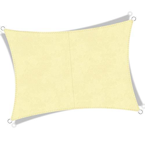 JYYnet Toldo Vela de Sombra, Rectángulo 2×3m Toldo Vela de Sombra Prevención Rayos UV Poliéster Toldo para Terraza Exterior Jardín (2×3m, Beige Arena)