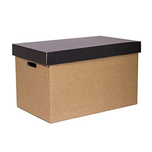Kartox | Pack 2 Cajas de Cartón de Almacenamiento con Tapa Negra | 53.2x33.1x32.5 (largo x ancho x alto) en cm
