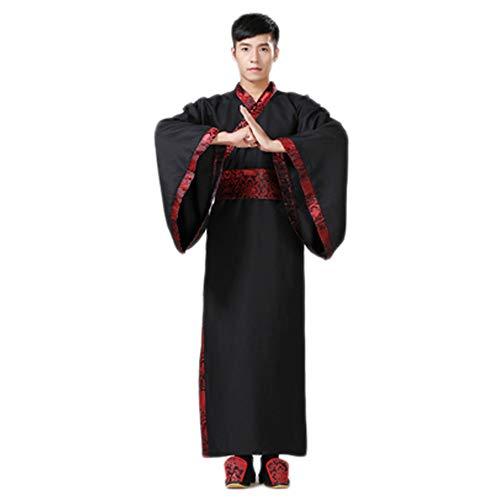 Black Sugar Japanischer Kimono, traditionell, chinesisch, für Herren, Cosplay, Tunika, lang, S (36) M (38) L (40) XL (42) XXL (44) 3XL (46) Gr. L, Schwarz