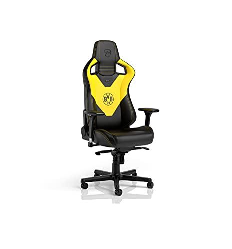 noblechairs Epic - Sedia da gaming, ergonomica, da scrivania, con supporto per testa e lombare, in pelle PU, progettata per utenti fino a 120 kg e 1,7 m di altezza (Borussia Dortmund Edition)