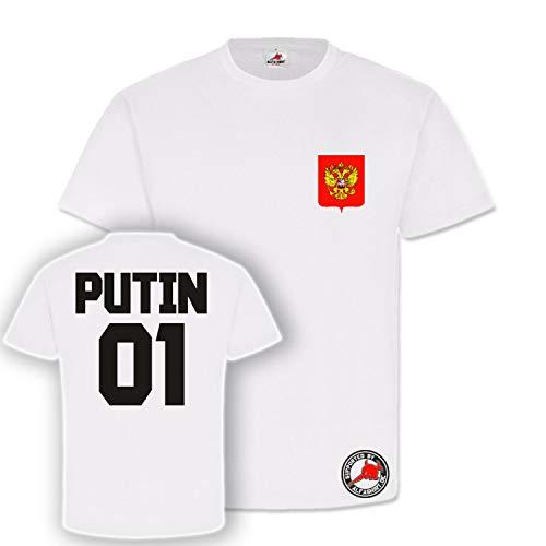 Putin Trikot Russia Russland Fan Wladimir Fussball Fußball ?????? Futbol Football Soccer Fun T-Shirt #23859, Größe:L, Farbe:Weiß