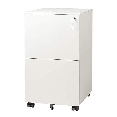 DEVAISE Metall Rollcontainer Büro-Rollcontainer Aktenschrank mit 2 Schubladen für A4, Mobil, Abschließbar, 39 cm x 48 cm x 67,5 cm, Weiß
