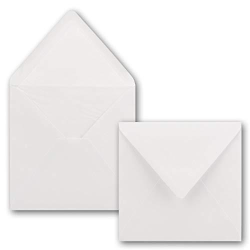 50 x Briefumschläge Quadratisch 16 x 16 cm in - Umschläge mit weißem Seidenfutter - Kuverts ohne Fenster & Nassklebung - 90 g/m²