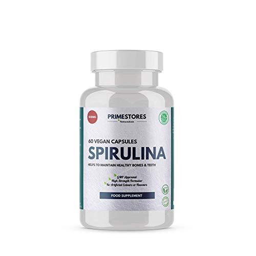 Spirulina Organic Super Detox Tablets 500mg - 60 Vegan Powder Capsules - High Strength Halal Blood Health Superfood Supplements by Primestores