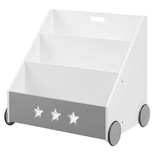 WOLTU Libreria Scaffale per Bambini Mobile Portalibri con Ruote Organizzatore per Cameretta Portagiochi Bianco+Grigio KR003