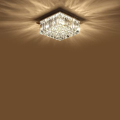 YIYIBYUS 15.75' K9 Crystal Ceiling LED Chandelier Lights,Flush Mount Chandelier Light Fixture with Remote Control,Dimmable Square Crystal Ceiling Lamp for Living Room,Bedroom,Dining Room,Hotel