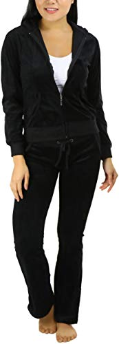ToBeInStyle Women's Velour Tracksuit Jacket and Matching Pants - Black - L