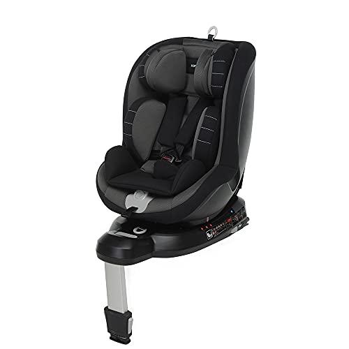Foppapedretti Logik i-Size Seggiolino Auto Girevole 360° Isofix per Bambini con Altezza da 40 a 105 cm (Fino a 18 Kg), Black