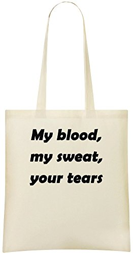 Mon sang, ma sueur, tes larmes - My Blood, My Sweat, Your Tears Custom Printed Shopping Grocery Tote Bag 100% Soft Cotton Eco-Friendly & Stylish Handbag For Everyday Use Custom Shoulder Bags