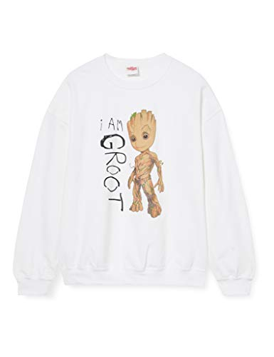 Marvel Guardians of The Galaxy Vol.2 I Am Groot Scribbles-Sudadera, Blanco (White Wht), X-Large para Hombre