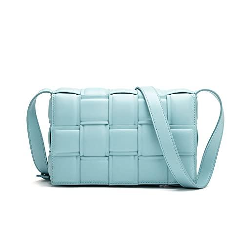 Bolso cruzado tejido para las mujeres, bolso pequeño del mensajero del hombro del bolso del embrague de la cartera del bolso cuadrado, azul (A-azul), Medium