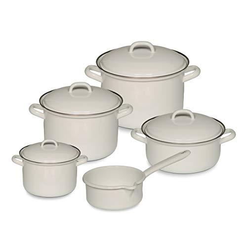 Riess 0547-033 - Batería de cocina (5 piezas: 1 L, 2 L, 2,5 L, 4,5 l, cazo con tapa de 0,75 l), color blanco